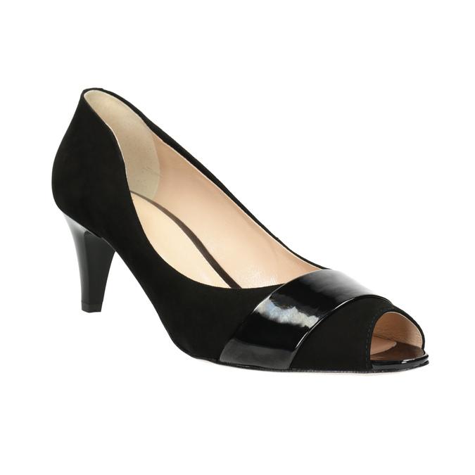 Leather open-toed pumps bata, black , 623-6603 - 13