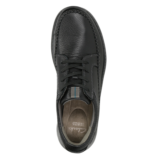 Men's Leather Lace-ups with Stitching clarks, black , 826-6024 - 15