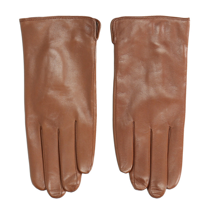 Brown leather gloves, brown , 904-3129 - 26