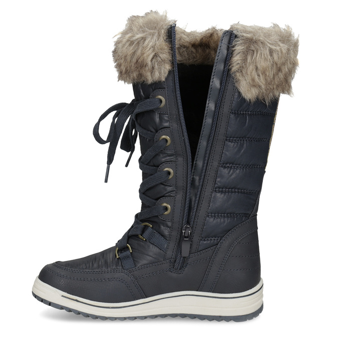 Ladies' snow boots with fur bata, blue , 599-9620 - 17