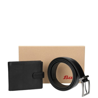 Gift pack with leather belt and wallet bata, black , 954-6200 - 13