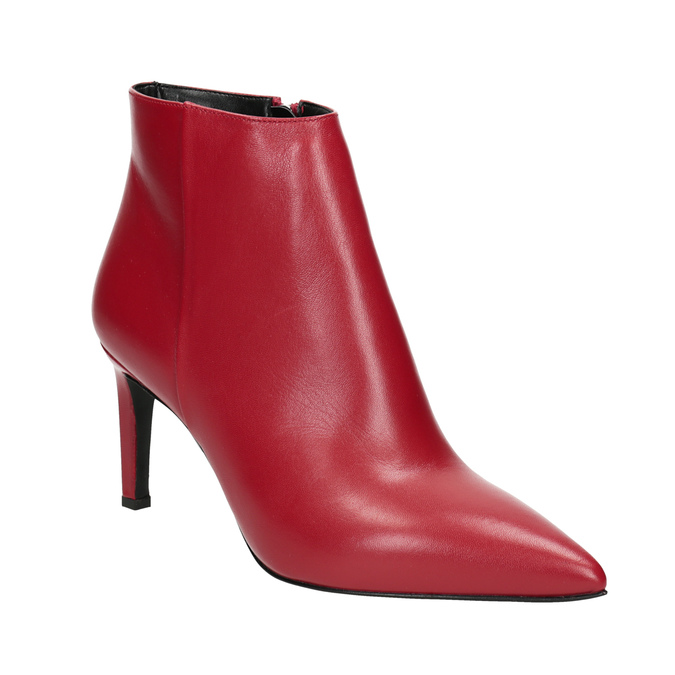 Red leather high ankle boots bata, red , 794-5651 - 13