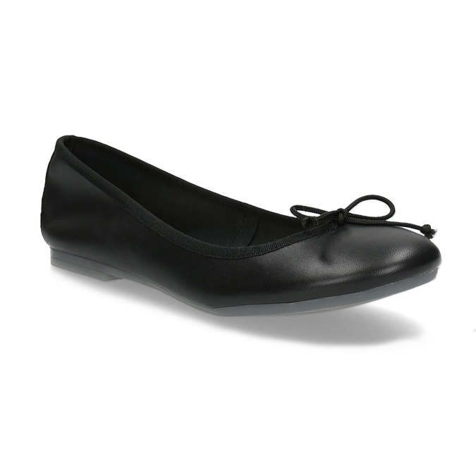 Leather ballerina shoes bata, black , 524-6144 - 13