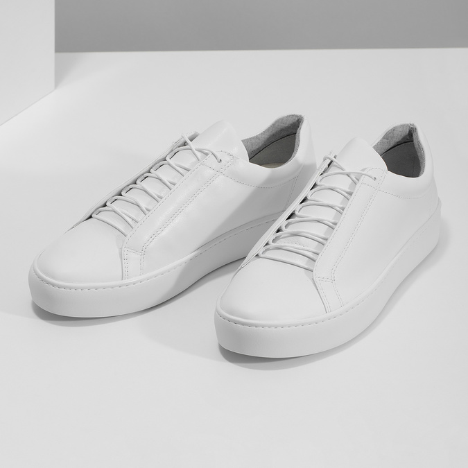 White leather sneakers vagabond, white , 624-1019 - 16