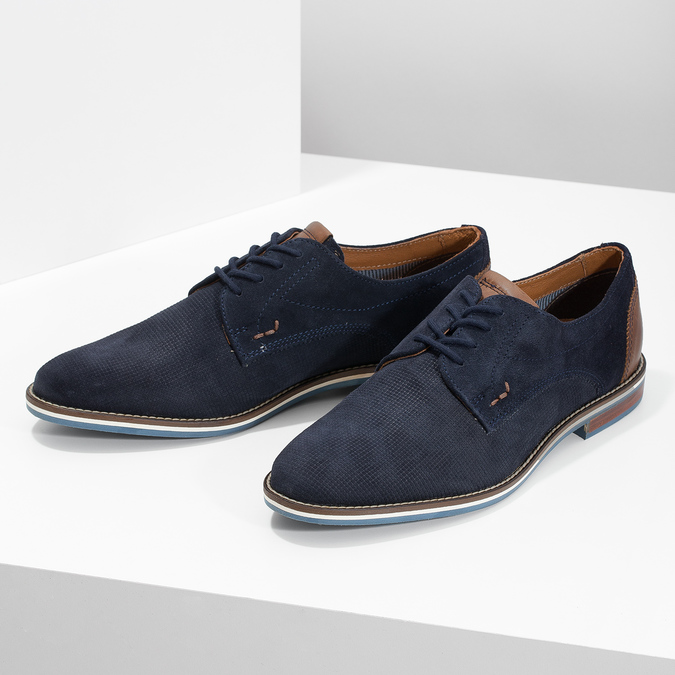 Leather shoes with striped sole bata, blue , 823-9600 - 16
