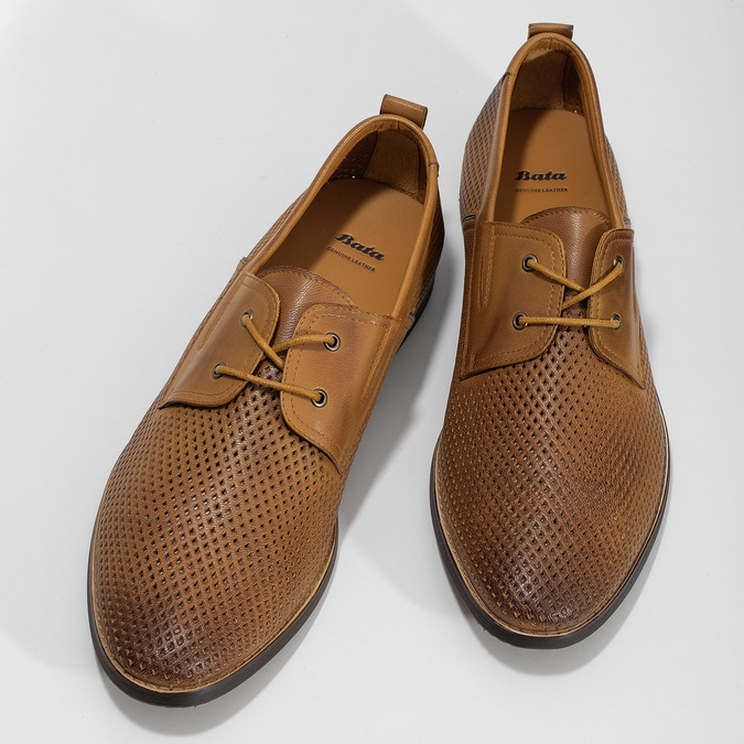Casual leather shoes with perforations bata, brown , 856-3601 - 16