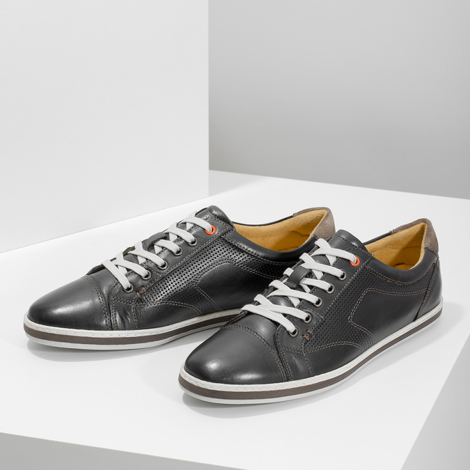 Men's leather sneakers bata, black , 846-6617 - 16
