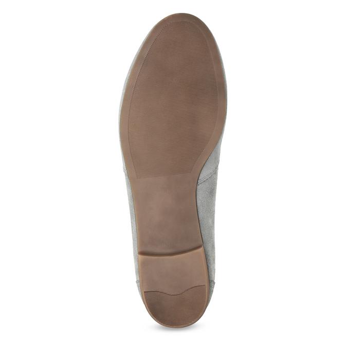 Grey leather moccasins bata, gray , 513-2615 - 18