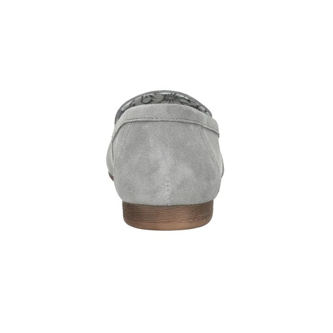 Grey leather moccasins bata, gray , 513-2615 - 16