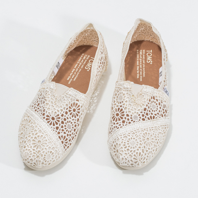 Lace slip-ons toms, beige , 519-1100 - 16