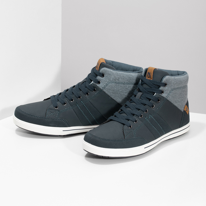Blue high-top sneakers north-star, blue , 841-9608 - 16